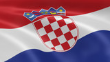 Croatian flag in the wind poster