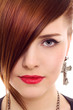 beautiful redhair woman close up style portrait