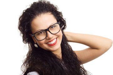 beautiful woman in glasses smile on white background