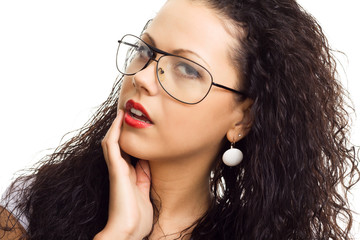 beautiful sexy woman in glasses on white background