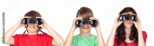 Three brothers looking for binoculars
