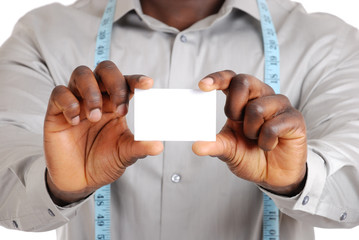 Tailor business man with card