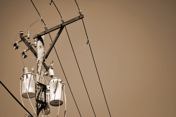power lines and transformer - sepia