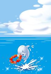 イルカとハイビスカス