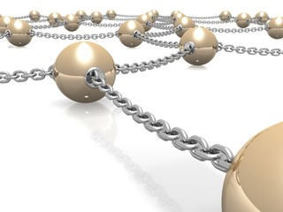 Metallic balls connected by chains