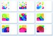 Set of nine colorful business cards, vector illustration