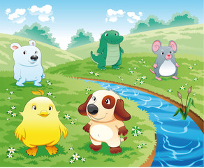 Baby pets near the river. Cartoon and vector illustration.