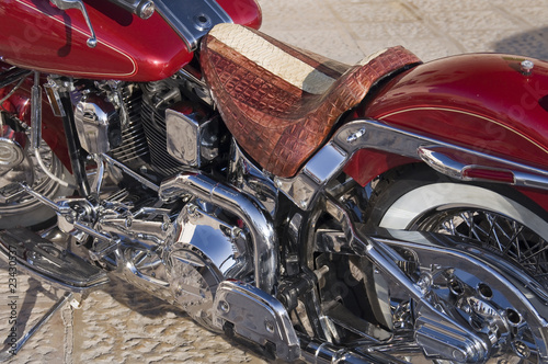 Close up of a motorcycle.