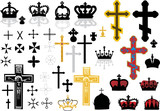 cross and crowns set