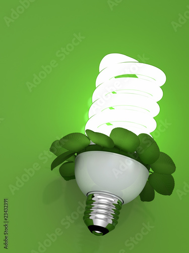 concept bulb energy saving fluorescent with leaves