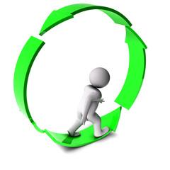 3d man on arrow circle