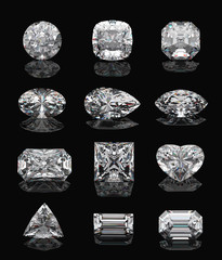 Diamond shapes on black.