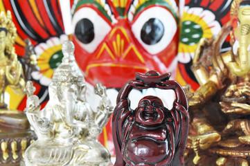 Buddha and hindu statues