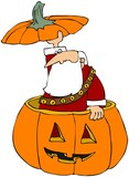 Santa Poking Out Of A Carved Pumpkin poster