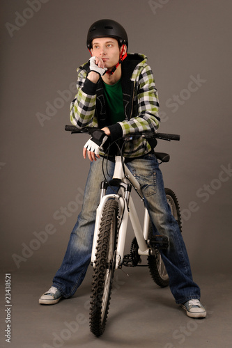 bicyclist on gray