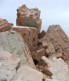 factory demolition stone metal stack of rubble poster