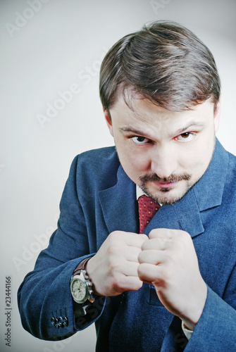 bearded man with fists