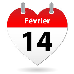 Page de Calendrier SAINT VALENTIN (14 février amour coeur st)