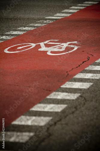 Señal de bicicleta en la calle