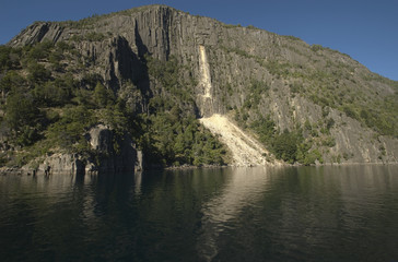 landslide on the coast of Lake Lacar (lake district - Argentina)