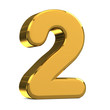 Number 2, in gold metal on a white isolated background TO HAVE T