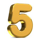 Number 5, in gold metal on a white isolated background TO HAVE T