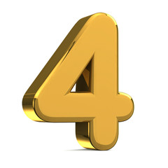 Number 4, in gold metal on a white isolated background TO HAVE T