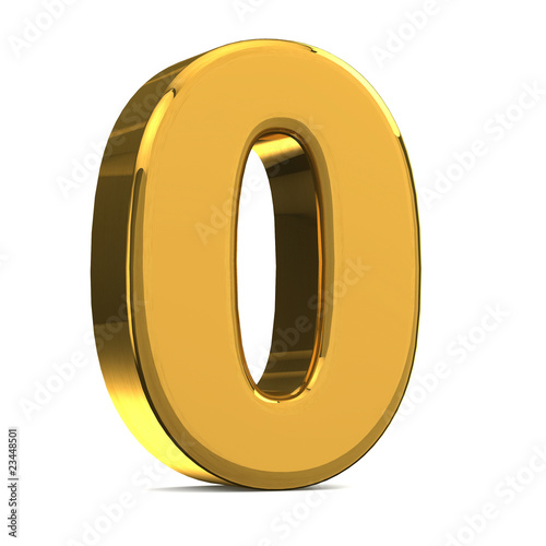Number 0, in gold metal on a white isolated background TO HAVE T