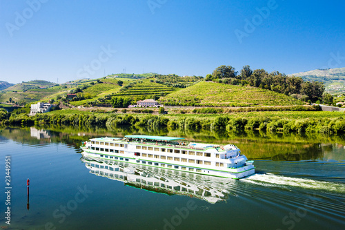 Leinwandbild Motiv cruise ship at Peso da Regua, Douro Valley, Portugal
