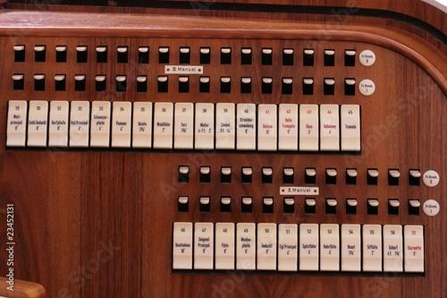 Leinwanddruck Bild Register einer Kirchenorgel