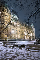 Winter view of Neus Rathaus Hannover, The New Town City Hall