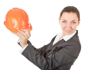 woman in a business suit with  helmet