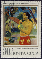 Gauguin Paul - Woman Holding a Fruit. Postage stamp