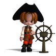 sweet and funny cartoon pirate with hat. 3D rendering with clipp
