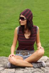 casual teenager wearing sunglasses