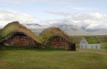 Traditional houses with turf roof in northern Iceland