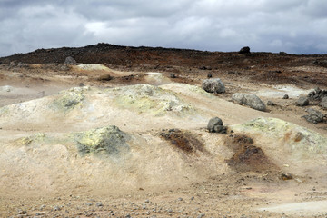 Geothermal area in Krafla region in Iceland