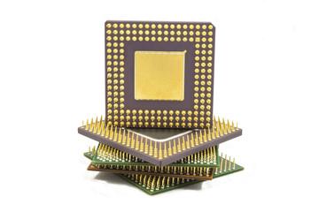 conjunto de processadores em fundo branco