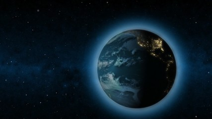 Rotating Earth changing from day to night - Loopable