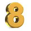 Number 8, in gold metal on a white isolated background