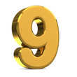 Number 9, in gold metal on a white isolated background