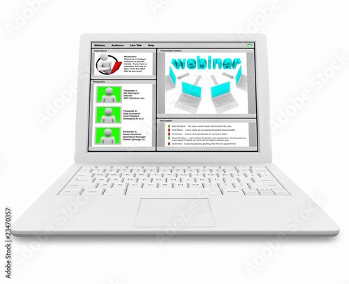 Webinar Screen on White Laptop Computer