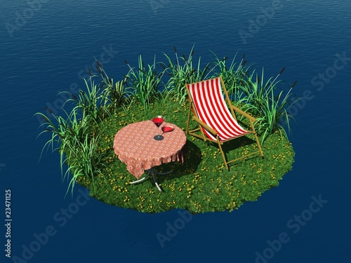 Tiny island with deck chair and table