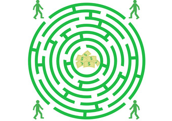 Green labyrinth with man and money