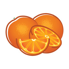 Orange fruits and slices