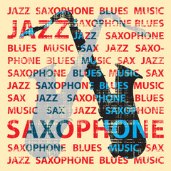 Jazz saxophone, illustration for poster, cd cover etc.