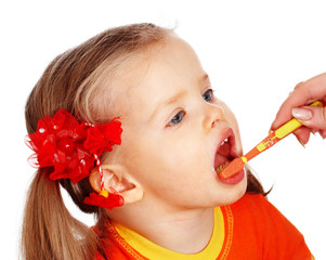 Child  clean brush teeth. Isolated.