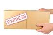 Leinwanddruck Bild - Paketsendung übergeben