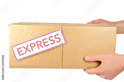 Leinwanddruck Bild Paketsendung übergeben
