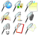 icon set with magnifying glass
